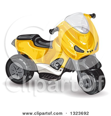 Clipart of a Yellow Tough Trike Toy - Royalty Free Vector Illustration by merlinul