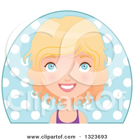 Clipart of a Happy Blond Haired Blue Eyed Caucasian Fit Woman Avatar over a Circle of Polka Dots - Royalty Free Vector Illustration by Melisende Vector