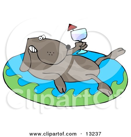 Relaxing Dog Drinking Red Wine and Soaking in an Inflatable Kiddie Pool Clipart Illustration by djart