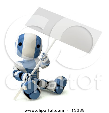 Blue and White Striped Metal Robot Sitting on the Ground and Holding a Blank Sign Clipart Illustration by Leo Blanchette