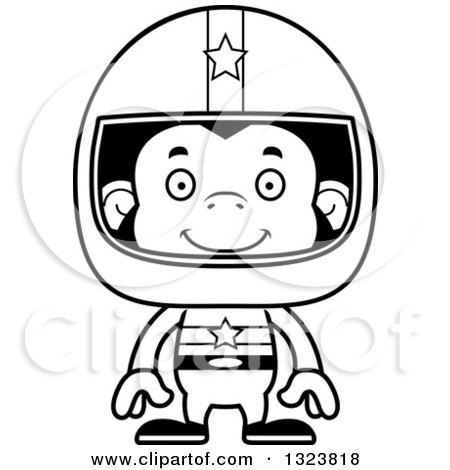 Lineart Clipart of a Cartoon Black and White Happy Chimpanzee Monkey Race Car Driver - Royalty Free Outline Vector Illustration by Cory Thoman