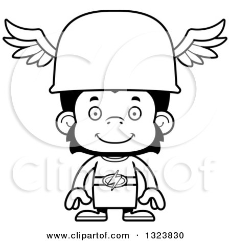 Lineart Clipart of a Cartoon Black and White Happy Chimpanzee Monkey Hermes - Royalty Free Outline Vector Illustration by Cory Thoman