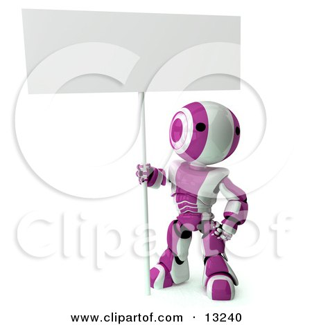 Pink and White Striped Metal Robot Sitting on the Ground and Holding a Blank Sign Clipart Illustration by Leo Blanchette