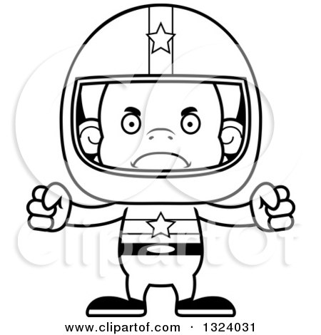 Lineart Clipart of a Cartoon Black and White Mad Orangutan Monkey Race Car Driver - Royalty Free Outline Vector Illustration by Cory Thoman