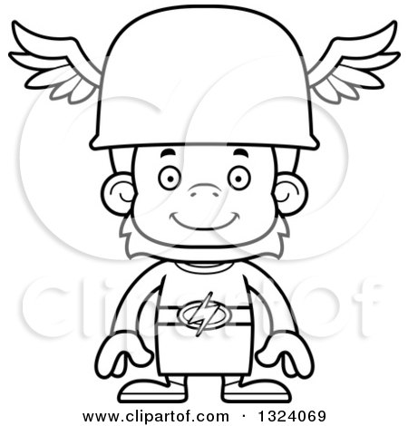 Lineart Clipart of a Cartoon Black and White Happy Orangutan Hermes Monkey - Royalty Free Outline Vector Illustration by Cory Thoman