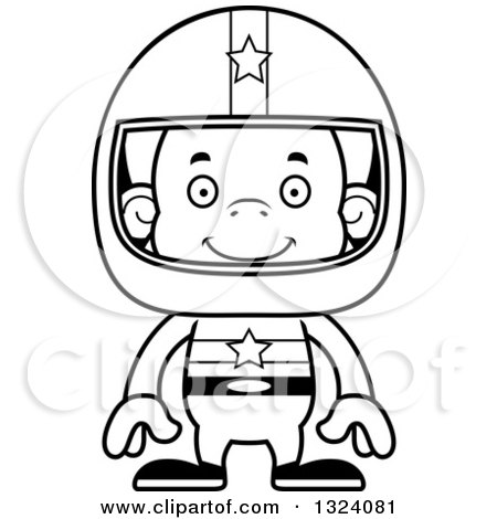 Lineart Clipart of a Cartoon Black and White Happy Orangutan Monkey Race Car Driver - Royalty Free Outline Vector Illustration by Cory Thoman
