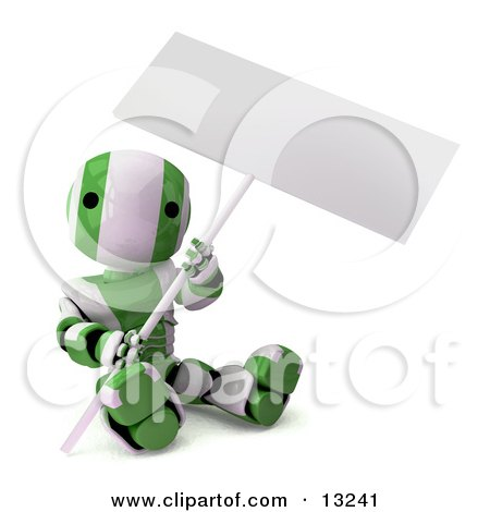 Green and White Striped Metal Robot Sitting on the Ground and Holding a Blank Sign Posters, Art Prints
