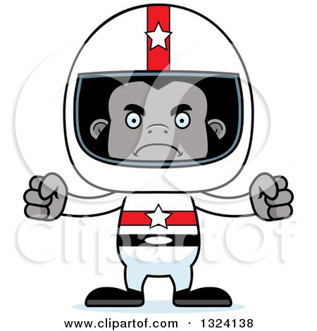 Clipart of a Cartoon Mad Gorilla Race Car Driver - Royalty Free Vector Illustration by Cory Thoman