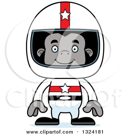 Clipart of a Cartoon Happy Gorilla Race Car Driver - Royalty Free Vector Illustration by Cory Thoman