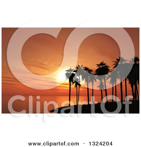 Clipart of a 3d Silhouetted Tropical Island with Palm Trees Against an Orange Ocean Sunset - Royalty Free Illustration by KJ Pargeter
