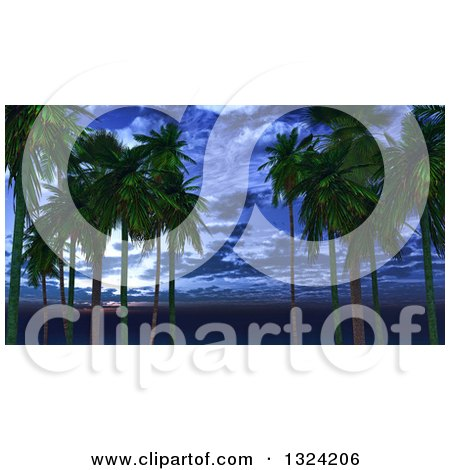 Clipart of a 3d Palm Trees Against a Dusk Sky - Royalty Free Illustration by KJ Pargeter