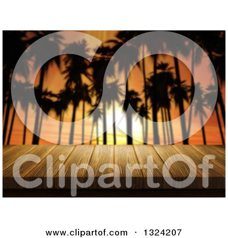 Clipart of a 3d Table or Deck Against Silhouetted Palm Trees and an Orange Sunset - Royalty Free Illustration by KJ Pargeter