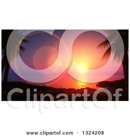 Clipart of a 3d Ocean Sunset with Flares over a Beach and Palm Trees - Royalty Free Illustration by KJ Pargeter