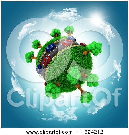 Clipart of 3d Blue and Red Cars on a Roadway Around a Grassy Planet, Against a Blue Sky with Clouds and Sun - Royalty Free Illustration by KJ Pargeter