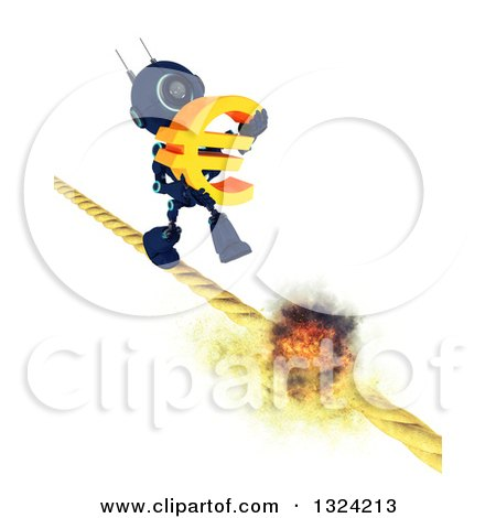 Clipart of a 3d Blue Android Robot Carrying a Euro Symbol on a Burning Tight Rope - Royalty Free Illustration by KJ Pargeter