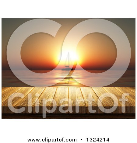 Clipart of a 3d Table or Deck Against a Silhouetted Sailboat Against an Orange Ocean Sunset - Royalty Free Illustration by KJ Pargeter
