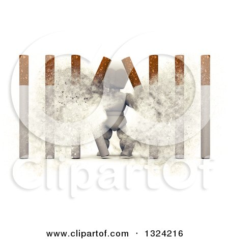 Clipart of a 3d White Character Busting Through Cigarette Bars - Royalty Free Illustration by KJ Pargeter