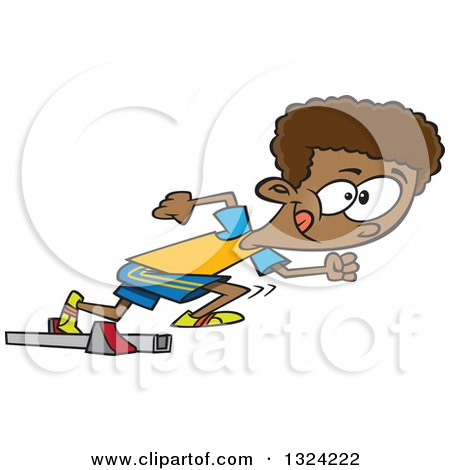 Clipart of a Cartoon Black Track and Field Boy Taking off in a Sprint - Royalty Free Vector Illustration by toonaday