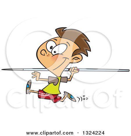 Clipart of a Cartoon Brunette White Boy Running and Preparing to Throw a Javelin - Royalty Free Vector Illustration by toonaday