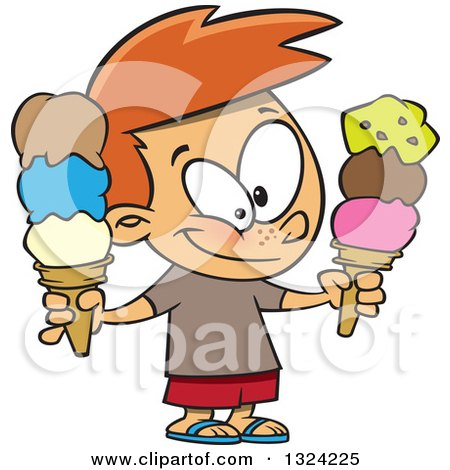 Clipart of a Cartoon Happy White Boy Holding Two Waffle Ice Cream Cones - Royalty Free Vector Illustration by toonaday