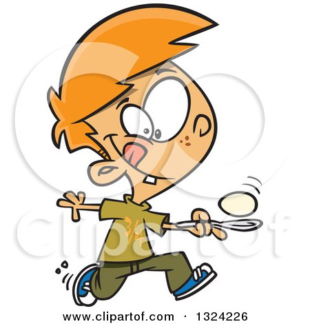 Clipart of a Cartoon Red Haired White Boy Running in an Egg Race - Royalty Free Vector Illustration by toonaday