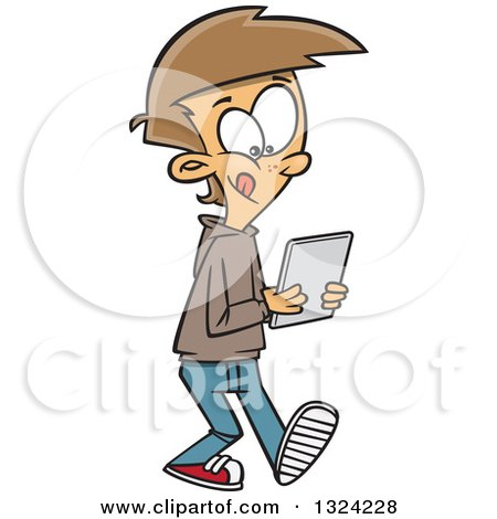 Clipart of a Cartoon White Boy Walking and Using a Tablet Computer - Royalty Free Vector Illustration by toonaday