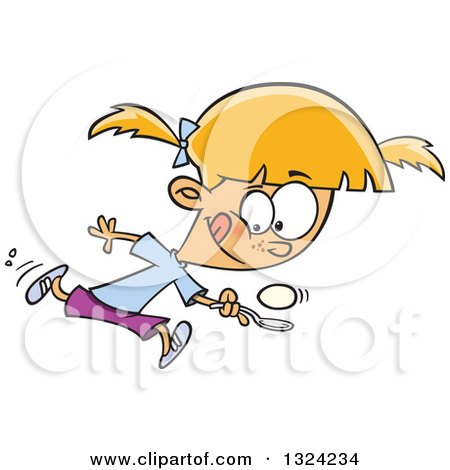 Clipart of a Cartoon Blond White Girl Running in an Egg Race - Royalty Free Vector Illustration by toonaday