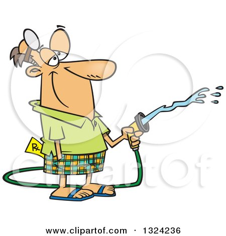 Clipart of a Cartoon Happy Retired White Male Doctor Using a Hose - Royalty Free Vector Illustration by toonaday