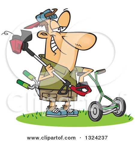 Clipart of a Cartoon Happy White Lawn Warrior Man Ready to Mow and Weed Whack - Royalty Free Vector Illustration by toonaday