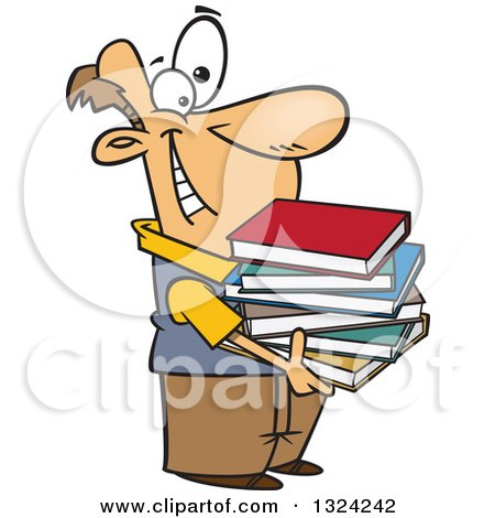 Clipart of a Cartoon Happy White Man Holding a Stack of Books - Royalty Free Vector Illustration by toonaday