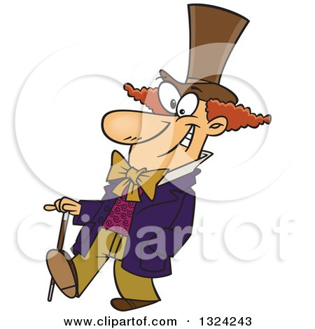 Clipart of a Cartoon Happy Man, Willy Wonka, Walking with a Cane - Royalty Free Vector Illustration by toonaday