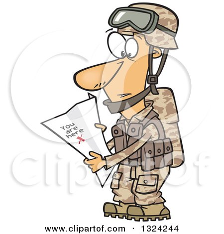 Clipart of a Cartoon White Male Army Soldier Reading a Map with X You Are Here - Royalty Free Vector Illustration by toonaday