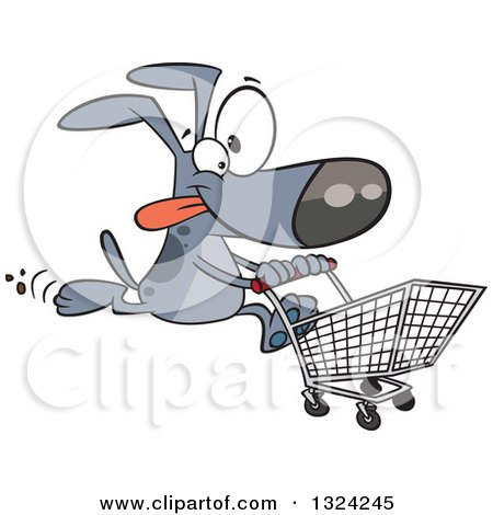 Clipart of a Cartoon Gray Dog Running with a Shopping Cart - Royalty Free Vector Illustration by toonaday