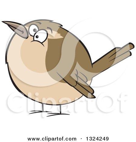 Clipart of a Cartoon Chubby Wren Bird - Royalty Free Vector Illustration by toonaday