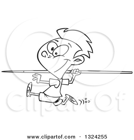 cartoon black and white boy running and preparing to throw a javelin