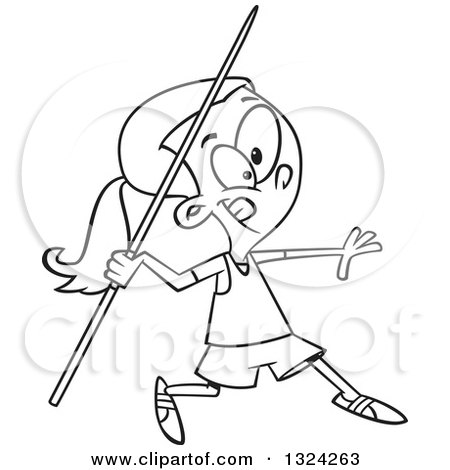 cartoon black and white track and field girl throwing a javelin