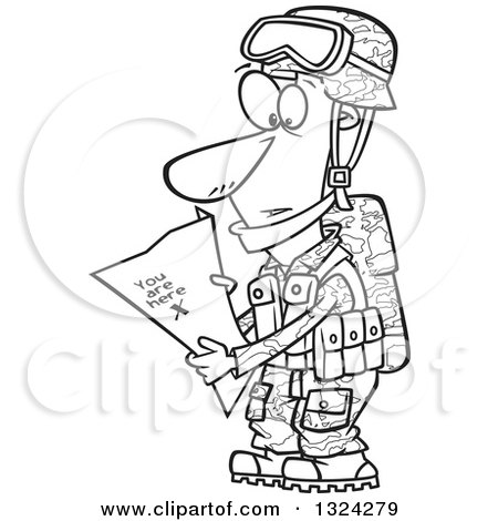 Lineart Clipart of a Cartoon Black and White Army Soldier Reading a Map with X You Are Here - Royalty Free Outline Vector Illustration by toonaday