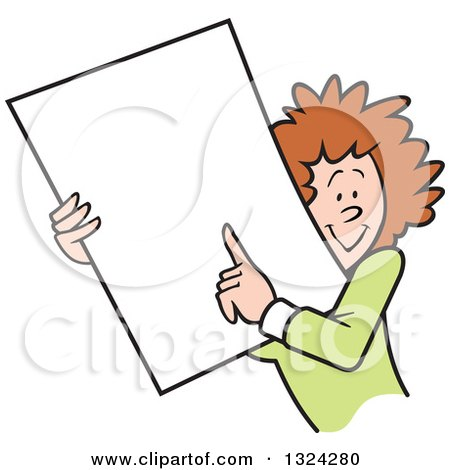 Clipart of a Cartoon Happy Caucasian Business Woman Holding and Pointing to a Blank Sign or Document - Royalty Free Vector Illustration by Johnny Sajem