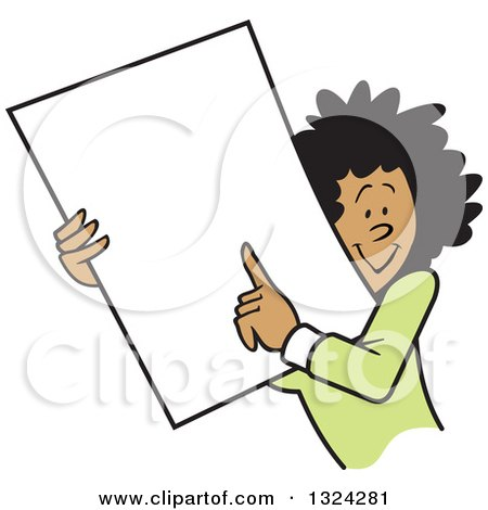 Clipart of a Cartoon Happy Black Business Woman Holding and Pointing to a Blank Sign or Document - Royalty Free Vector Illustration by Johnny Sajem