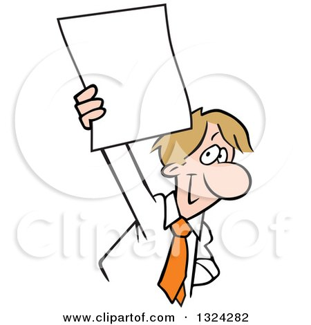 Clipart of a Cartoon Happy Dirty Blond Caucasian Business Man Holding up a Blank Document - Royalty Free Vector Illustration by Johnny Sajem