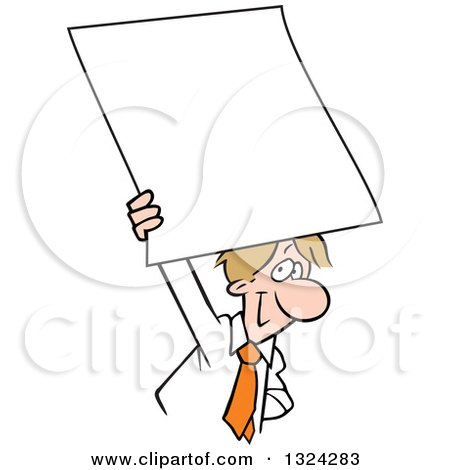 Clipart of a Cartoon Happy Dirty Blond Caucasian Business Man Holding up a Blank Sign or Document - Royalty Free Vector Illustration by Johnny Sajem