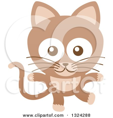 Clipart of a Cartoon Brown Baby Cat - Royalty Free Vector Illustration by Zooco