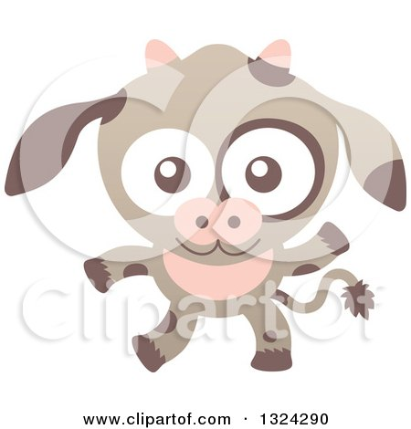 Clipart of a Cartoon Baby Cow - Royalty Free Vector Illustration by Zooco