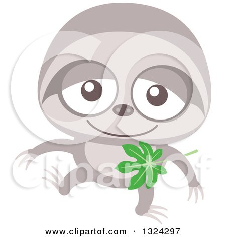 Clipart of a Cartoon Baby Sloth - Royalty Free Vector Illustration by Zooco