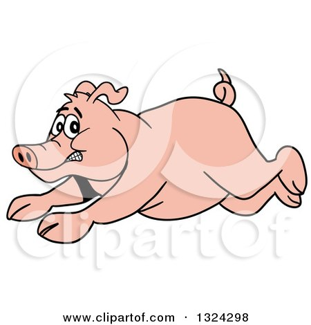 Clipart of a Cartoon Scared Pig Running - Royalty Free Vector Illustration by LaffToon