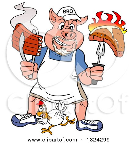 Clipart of a Cartoon Bbq Chef Pig with a Goatee, Holding up a Steak and Hot Ribs over a Chicken - Royalty Free Vector Illustration by LaffToon