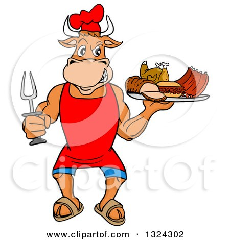 Clipart Of A Cartoon Chef Bull Holding A Bbq Platter Of Meats Royalty Free Vector Illustration