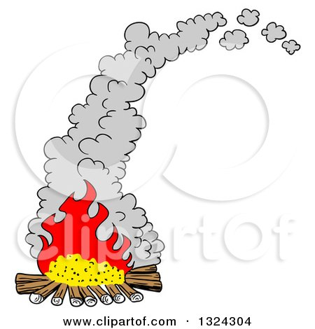 Clipart of a Cartoon Smoking Camp Fire - Royalty Free Vector Illustration by LaffToon