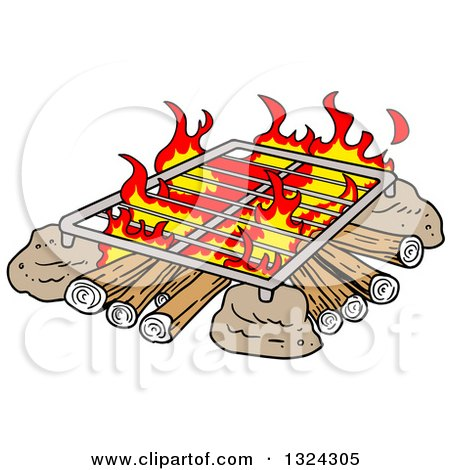 Clipart of a Cartoon Grill over a Camp Fire - Royalty Free Vector Illustration by LaffToon