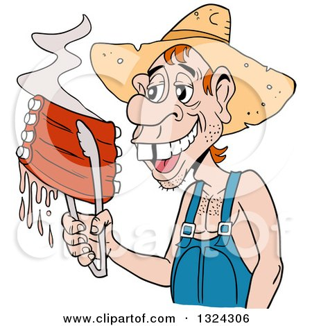 Clipart of a Buch Toothed Male Hillbilly Holding Juicy Bbq Ribs with Tongs - Royalty Free Vector Illustration by LaffToon